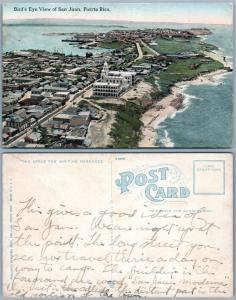 PUERTO RICO BIRD'S EYE VIEW OF SAN JUAN PORTO RICO ANTIQUE POSTCARD