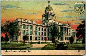 Vintage Lincoln, Nebraska Postcard State Capitol Building View w/ 1907 Cancel