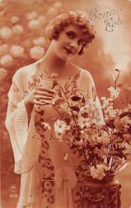 Bonne Fete! Happy Birthday! Beautiful Lady Woman, Flowers Vase
