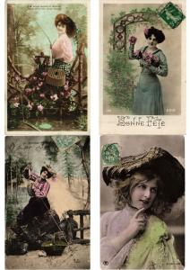 GLAMOUR LADIES FEMMES Lot of 600 CPA Vintage Real Photo Postcards (PART II.)