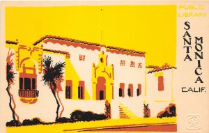 G26/ Santa Monica California Postcard Hand-Made Serigraph Public Library 4