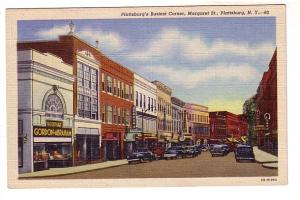 Downtown, Many Stores, Gordon-Abraham, Margaret St, Plattsburg, New York, C W...
