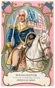 George Washington    astride horse taking command of American Army