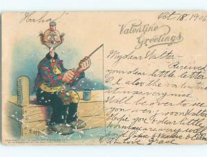 Pre-Linen Valentine signed HOBO WITH FISHING POLE AB2715
