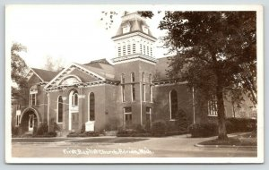 Adrian Michigan~First Baptist Church~Tower Top is Gone~1950s RPPC
