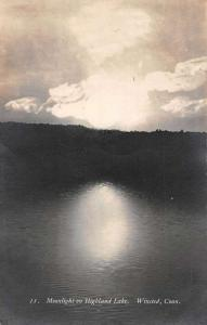 Winsted Connecticut Moonlight Highland Lake Real Photo Antique Postcard K56890