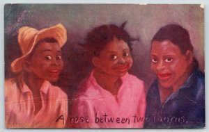 Black Americana~A Rose Between Two Thorns~Pretty in Pink Girl~Boys~Artist~1907