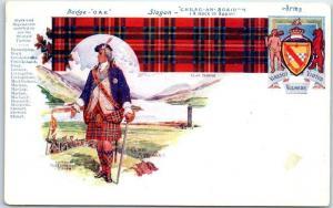 Vintage SCOTLAND Postcard CLAN STEWART Tartan, Slogan Coat of Arms c1900s UNUSED