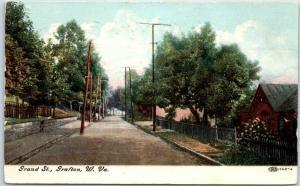 Grafton, West Virginia Postcard GRAND STREET Residential Scene Houses - 1908