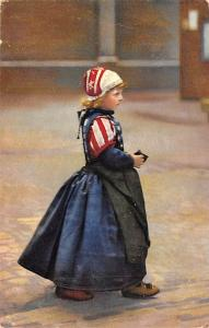 Post Card Old Vintage Antique Little Girl in Patriotic Dress, USA Unused