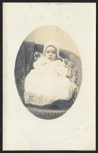 Baby In Long Dress & Bonnet Real Photo PC Unused c1910s