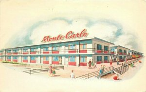 Atlantic City New Jersey Monte Carlo Beach Motels 1958 Postcard roadside 6484