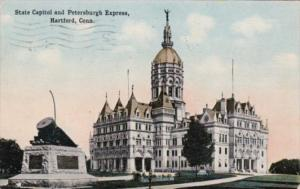 Connecticut Hartford State Capitol Building and Petersburgh Express 1914