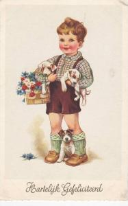Boy Carrying Basket of Flowers & Arms Full of Puppies
