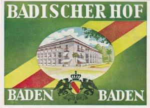 Germany Badeb Baden Badischer Hof Vintage Luggage Label sk3257