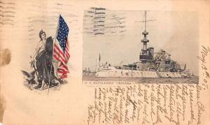 US Battleship Indiana Columbia holding Flag Private Mail Postcard JB627660