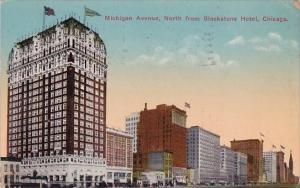 Illinois Chicago Michigan Avenue North From Blackstone Hotel 1917