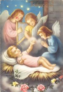 Joyeux Noel! Baby Jesus Children Angels playing harp