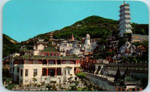 c1950s HONG KONG Postcard The Tiger Balm Gardens Bird's-Eye View Chrome UNUSED