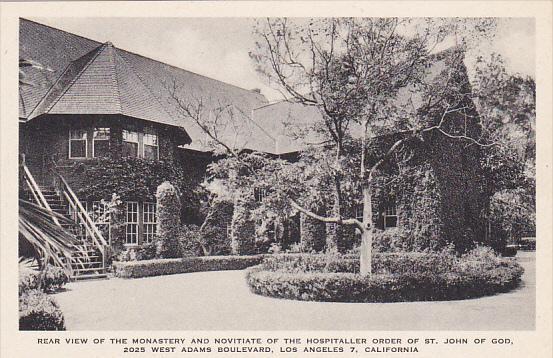 Rear View Of Monastery St John Of God Los Angeles California Albertype