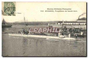 Old Postcard Boat War Marine Militaire Francaise Averno ocean Torpilleur