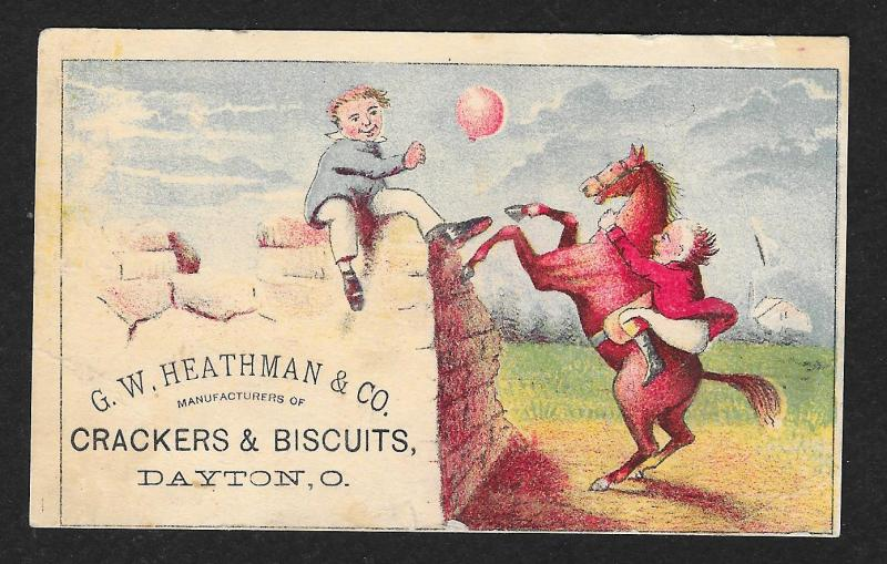 VICTORIAN TRADE CARD Heathman Crackers & Biscuits