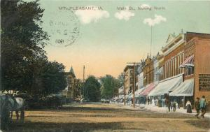 1908 Mt Pleasant Iowa PCK Series Main Street Postcard Koeber 11261