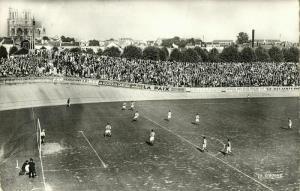 france, REIMS, Le Stade et les Populaires (1962) Stadium Postcard RPPC
