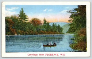 Greetings From Florence Wisconsin~Rowboating Fisher Lake?~1935 Scenic Postcard