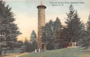 25478 NH, Hanover, Tower and old Pine Stump, Dartmouth College
