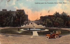 Great Falls MT Caretakers Water Grass @ Fountain~Lady in Car~Welcome Banner 1912