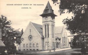 Ligonier Pennsylvania~Ligonier Methodist Church on Diamond~Car in Street~1940s