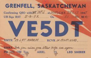 GRENFELL , Sask., Canada, 1949 ; QSL Radio Card
