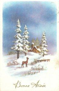 Postcard Holidays deer winter bonne annee house snow night view flowers