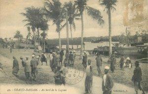 Cote d'Ivoire Postcard Grandd-Bassam lagoon view ethnic types image