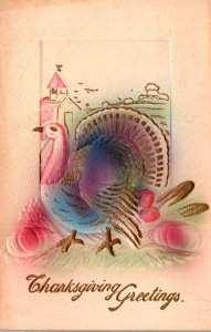 Thanksgiving Greetings With Turkey Embossed