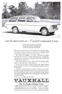 Vintage Reproduction Newspaper Advertising Postcard, Vauxhall Cresta Estate V59