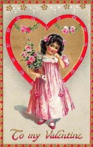 Raphael Tuck  Floral Missives #11 Valentine Greetings Beautiful Girl Postcard