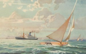The Blue Funnel Line , Sailboat & Ocean Liner, 1920-40s