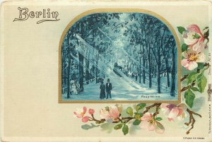 Vintage Postcard Berlin Germany Vignette Hauptallee FLowers and Poeople in Park