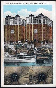 NY NEW YORK CITY Hudson Terminal and Tubes on Church Street - White Border