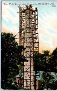Stoughton, Wisconsin Postcard Water Works Chimney Under Construction 1908