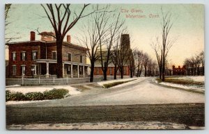 Watertown Connecticut~The Green~Main Street in Winter~Snow on Ground~c1910