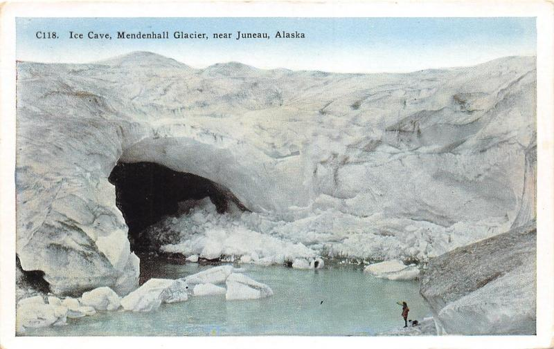Juneau Alaska~Mendenhall Glacier-Ice Cave~Lady w Dog~Info on Back~1920s Postcard