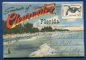 Clearwater Florida fl Memorial Causeway Beach Air view postcard folder