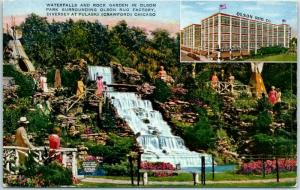 Chicago, Illinois Postcard OLSON RUG CO Waterfalls & Rock Garden in Olson Park