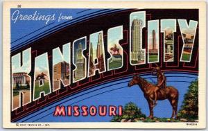 KANSAS CITY Missouri Large Letter Postcard Colorful Curteich Linen c1940s Unused