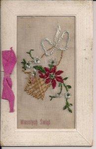 EMBROIDERED Polish Christmas Card, Poland, Pointsettia Flower, Hand Work 1930's?