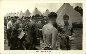 Pine Camp NY 1935 Military Soldiers Mess Line Tents Real Photo Postcard