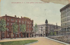 Binghampton New York - The Corner of Lewis and Chenango-1910